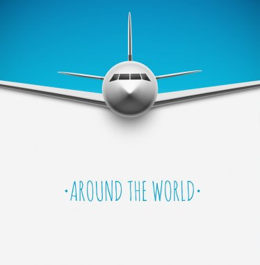 Background with airplane, around the world, eps 10 stock vector