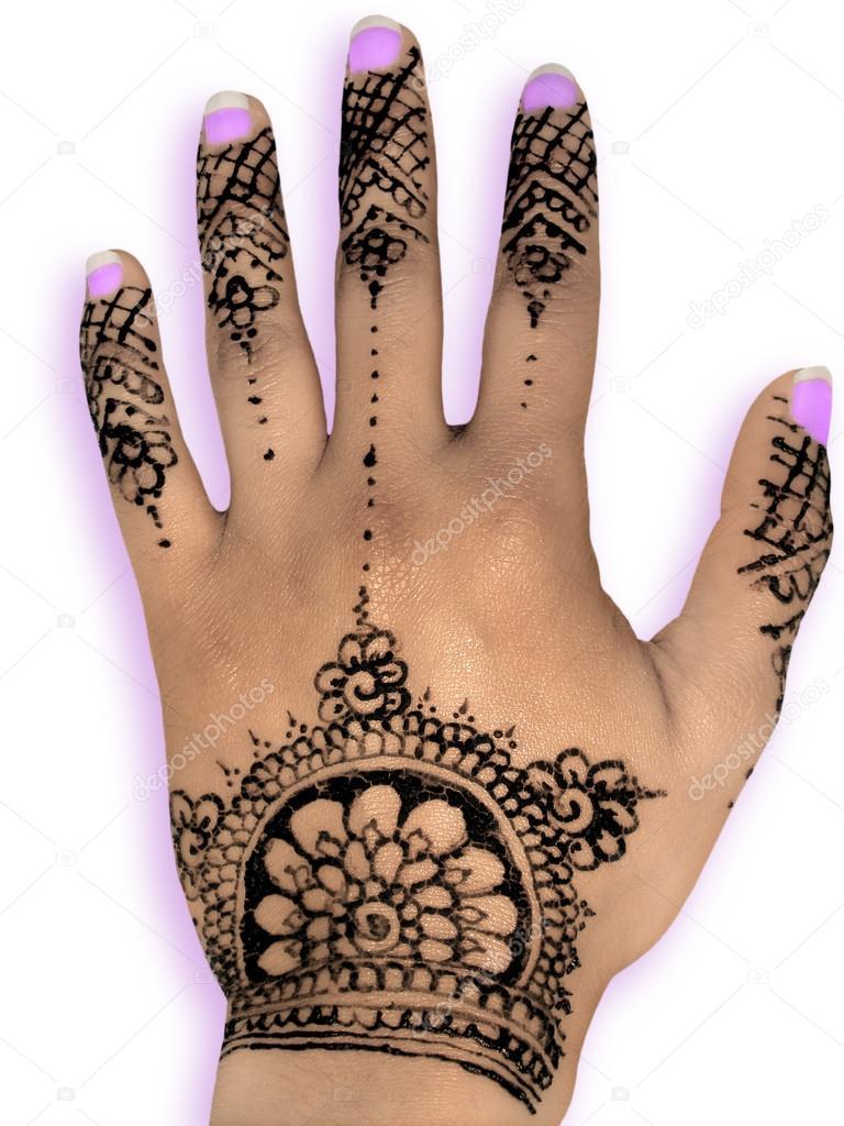 Hena Henna Mehendi Design - isoliert lila Nägel und Schatten ...
