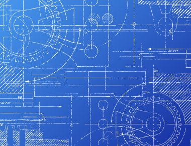 Grungy technical blueprint illustration on blue background stock vector