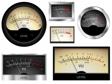 Vector audio VU meters. Different colors and styles stock vector