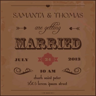 Calligraphy wedding invitation card template,