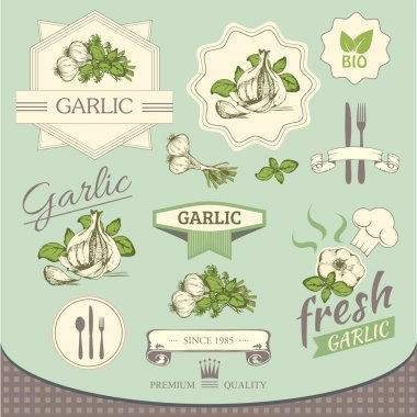 garlic spice, vegetables, background product, label packaging design