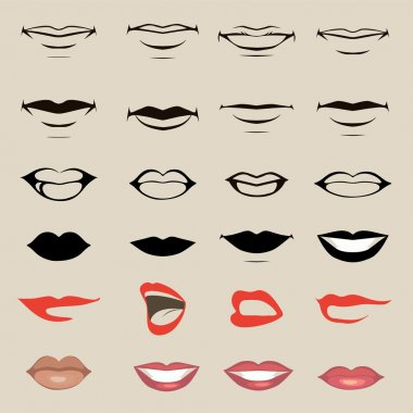 Vector lips and mouth, silhouette and glossy