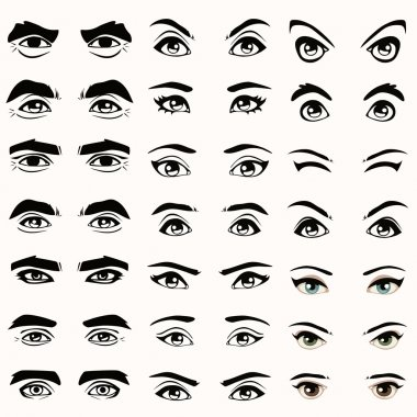 vector eyes and eyebrows silhouette,
