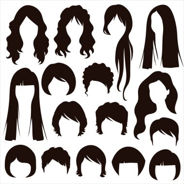 hair silhouettes, woman hairstyle