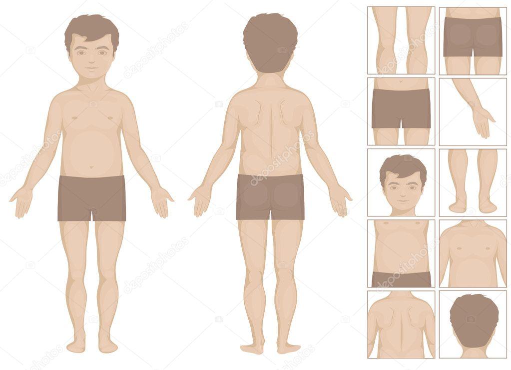 Junge oder menschliche Körperteile, Vektor-Cartoon-Illustration für ...