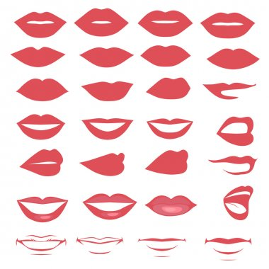 Vector lips and mouth,  silhouette and glossy, open and close up, man and woman face parts stock vector