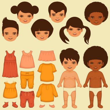 Vector kids face, paper doll,