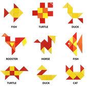 Il set di animali di figure geometriche