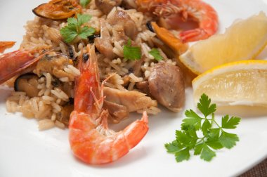 Paella ready meal with shrimp, chicken
