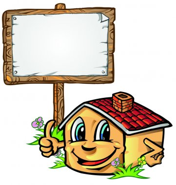 house cartoon with signboard