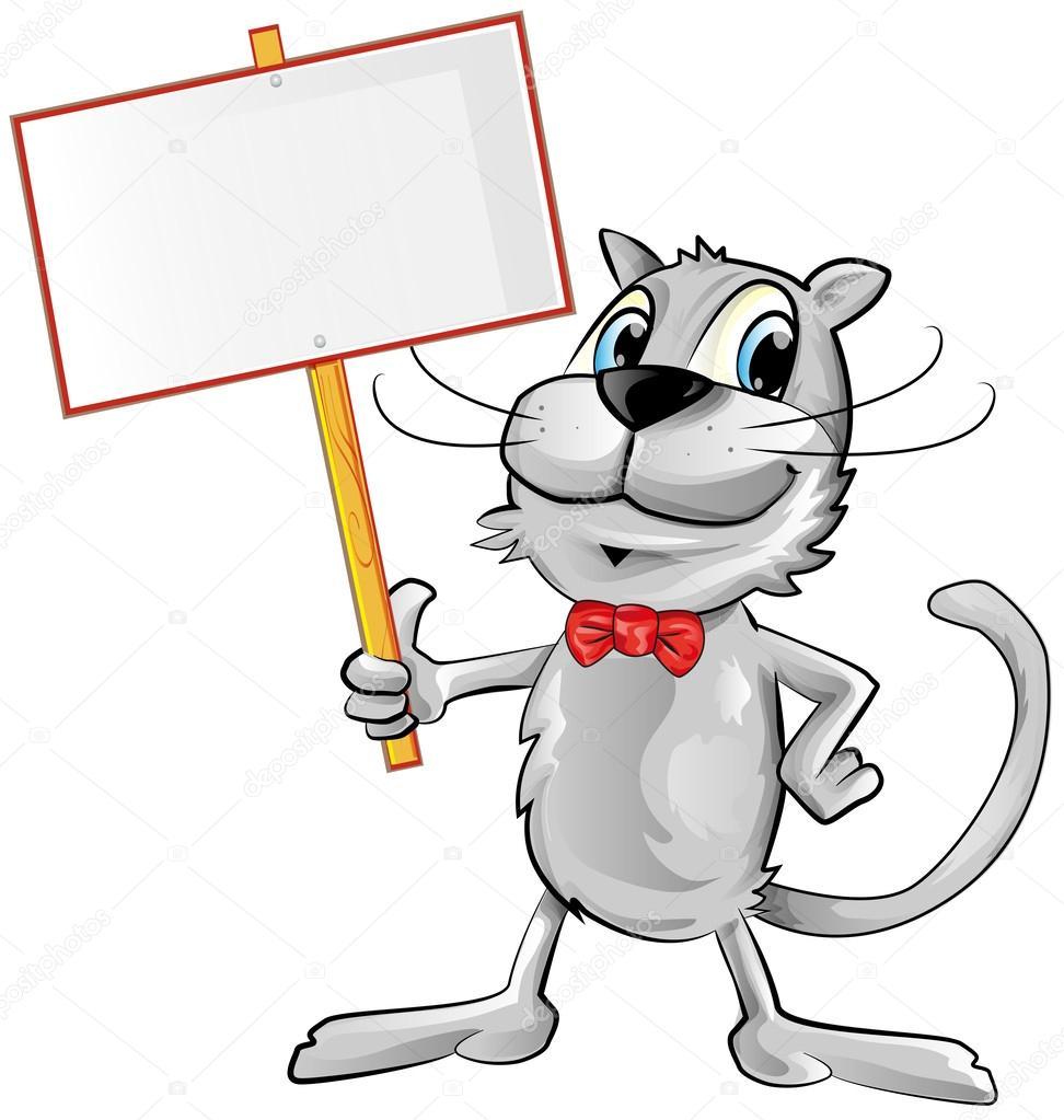 Cartone animato divertente gatto con cartello — vettoriali