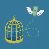 Fotografie Money flying out of cage birds , Financial independence