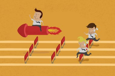 Business persons reaching the goal in a race