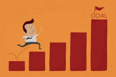 Happy Businessman jump over graph stat to goal