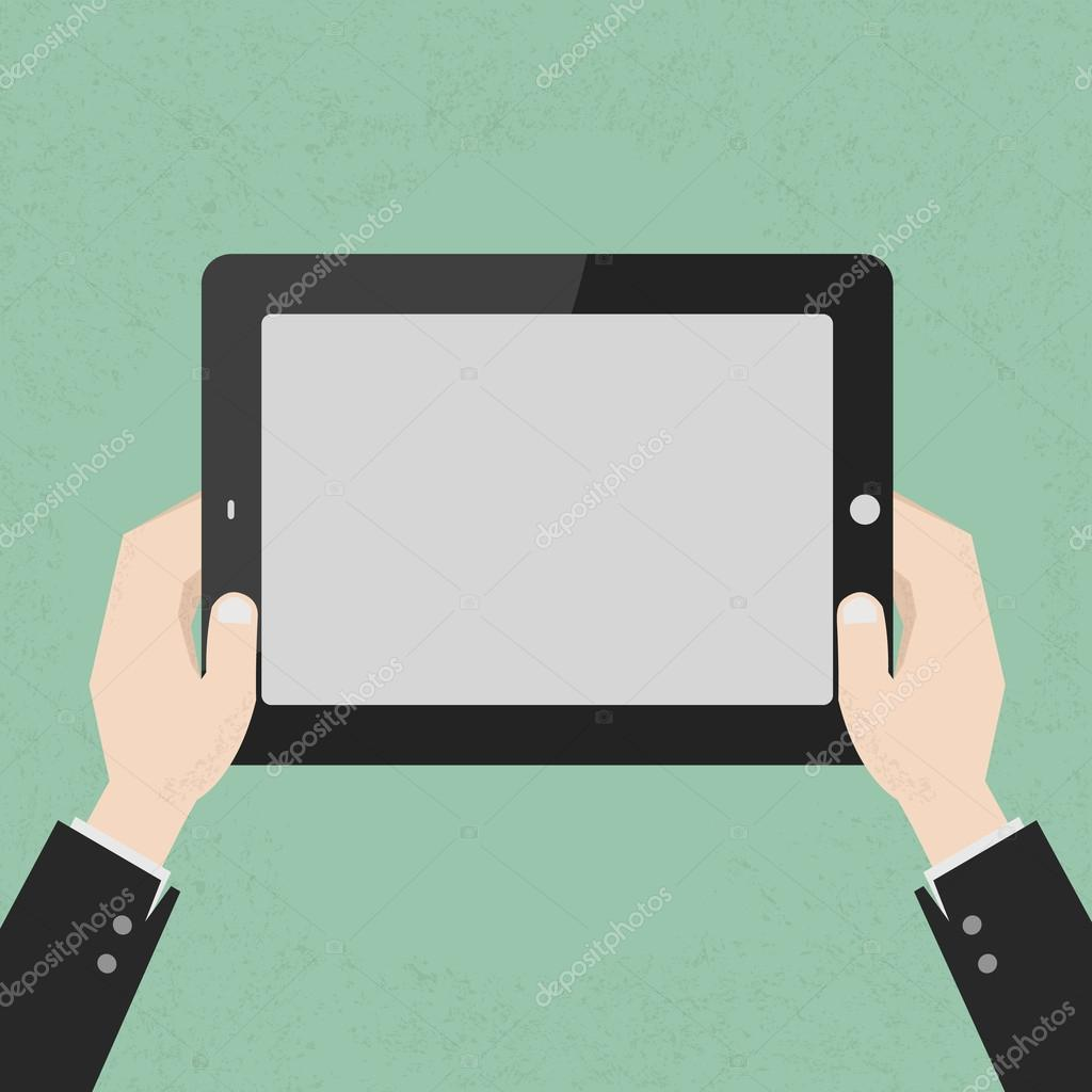 Hands holding a tablet touch