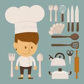 Šéfkuchař a nástroj charakter, plochý design