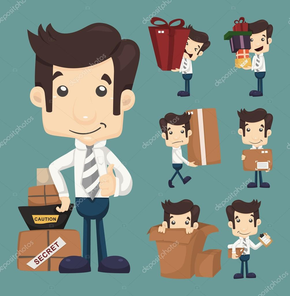 Set of businessman moving office and packing in boxes characters