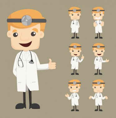 Set of doctor characters poses , eps10 vector format stock vector