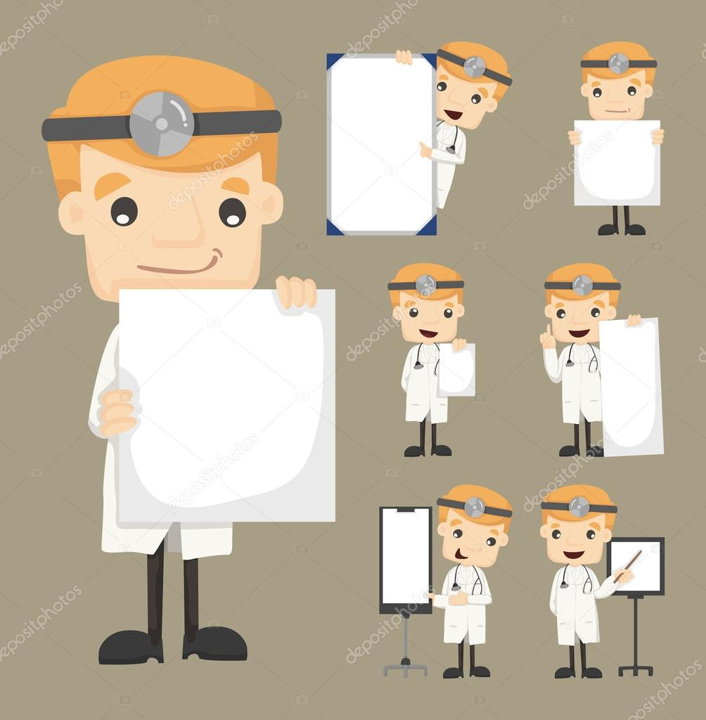 Set of doctor holding blank notes characters poses