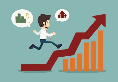 Business man runing top of  graph
