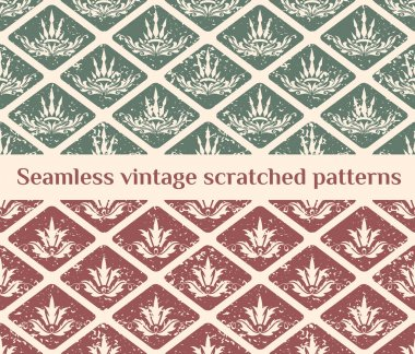 Seamless scratched vintage patterns with decorative crown elements