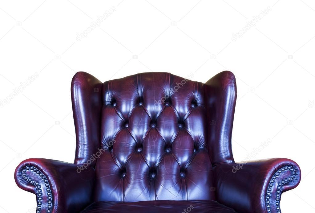 Sedie Vintage Pelle : Vecchia sedia vintage in pelle rossa isolato su sfondo bianco