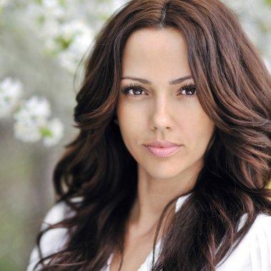 Beautiful woman face - outdoor portrait