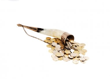 Cornucopia bone full of silver coin