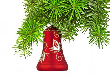Christmas red bell on new year tree