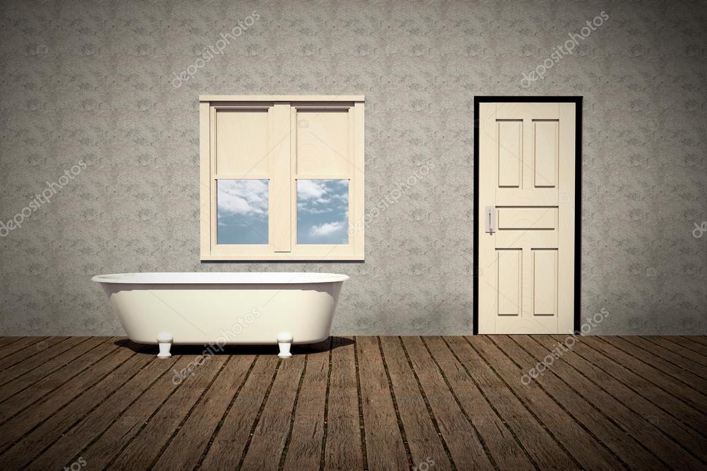 Retro badkamer met hout plankenvloer — Stockfoto © siraanamwong ...