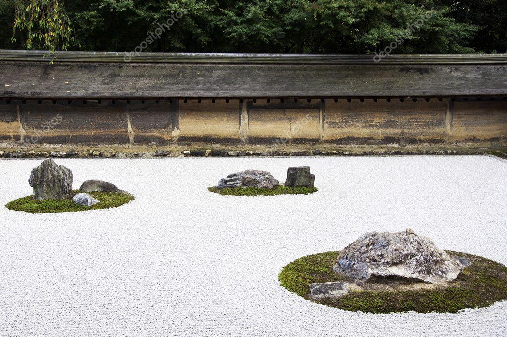 Giardino di pietra zen in giappone di ryoanji temple kyoto