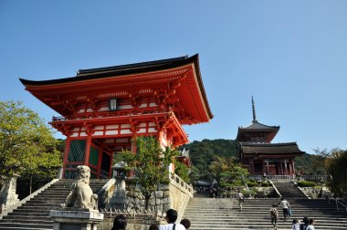 KYOTO- OCT 21: Entrance of Kyomizu Temple against blue sky on Oc