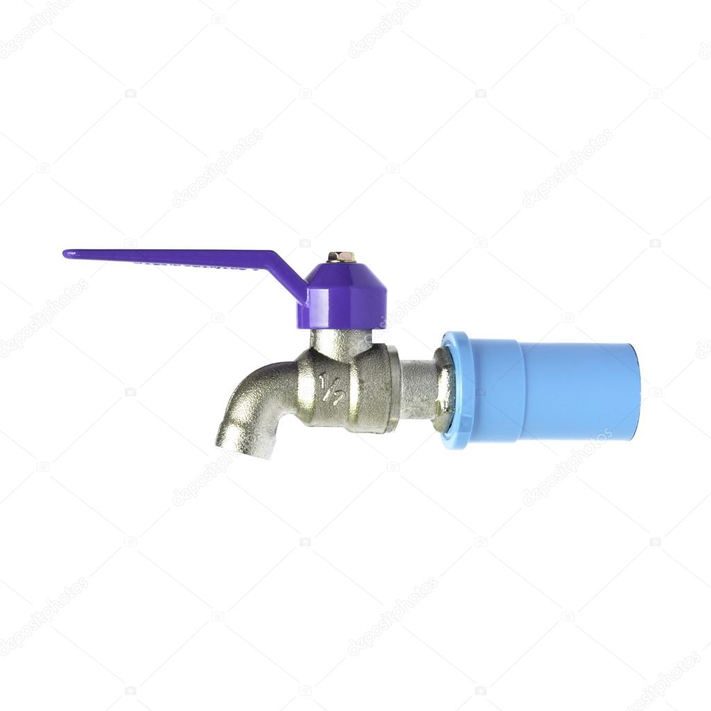 Metal faucet attached to the water system of pvc pipes — Stock Photo ...