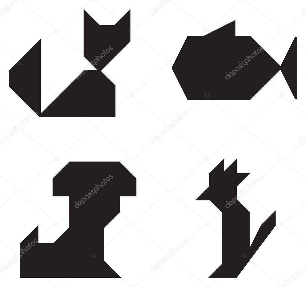 Mascotas Símbolos Blanco Y Negro Archivo Imágenes Vectoriales