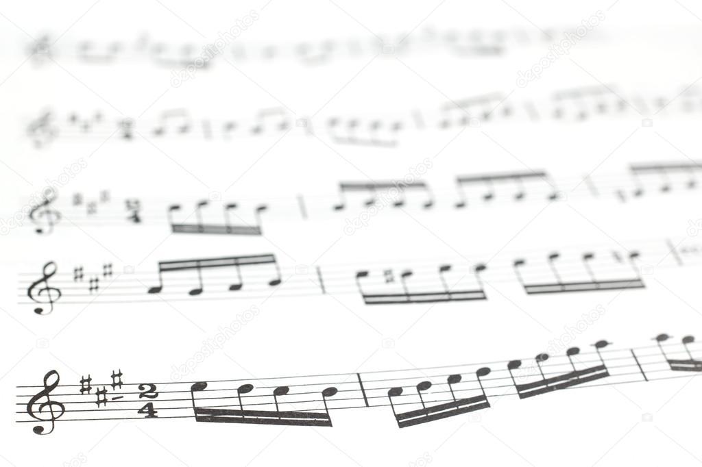 viejo impreso hoja de música o puntuación y notas musicales — Fotos ...