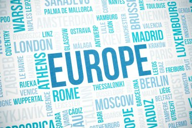 Europe cloud concept print, cities words background, vignette added
