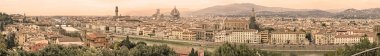 Florence sepia toned aerial cityscape. Panorama view from Michelangelo park square. From left: Ponte Vecchio, Palazzo Vecchio and Duomo Cathedral. Italy stock vector