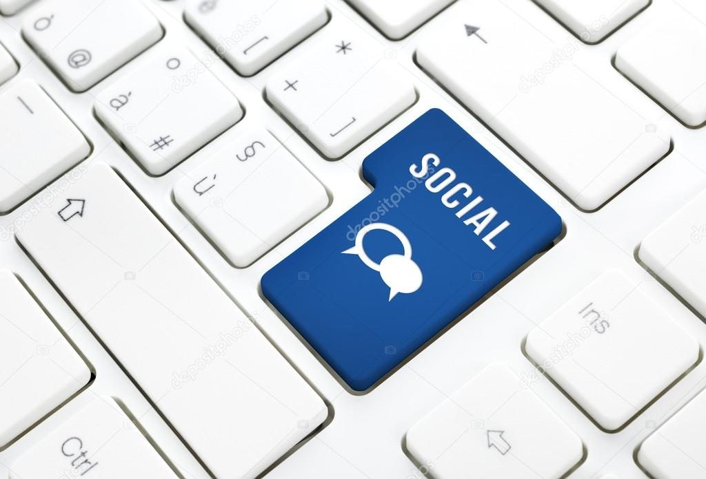 Social business concept text and balloon icon blue button or key on a keyboard