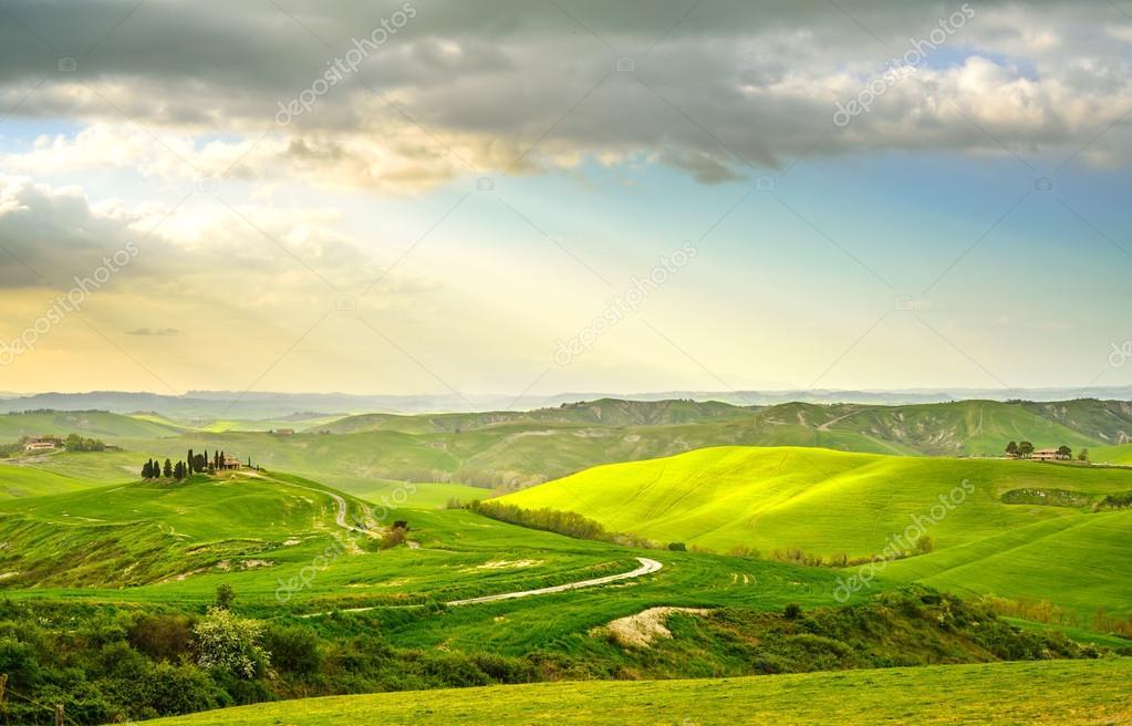 Фотообои Tuscany, rural sunset landscape. Countryside farm, white road and cypress trees.
