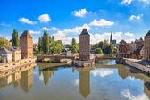 Strasburgo, ponticello medioevale ponts couverts e Cattedrale. Alsazia, Francia.