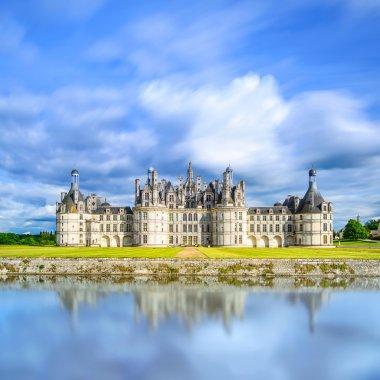Chateau de Chambord, Unesco medieval french castle and reflection. Loire, France