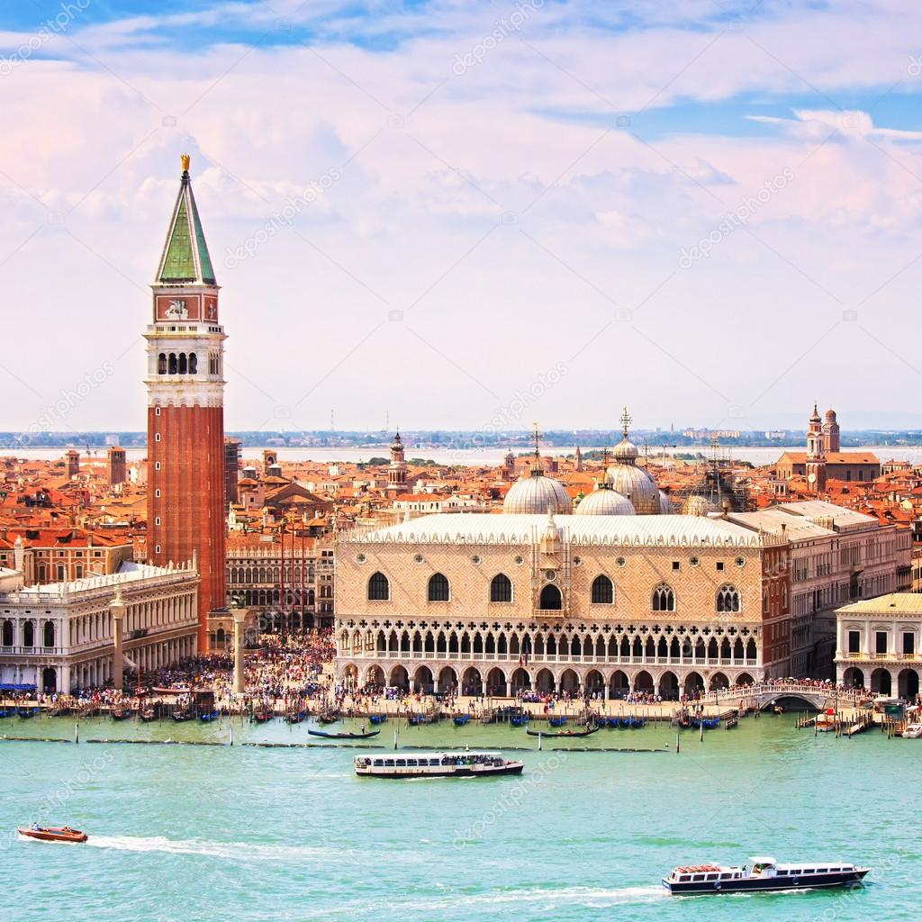 Venice aerial view, Piazza San Marco with Campanile and Doge Pal