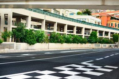 Starting grid and pit lane asphalt Monaco race Grand Prix circui