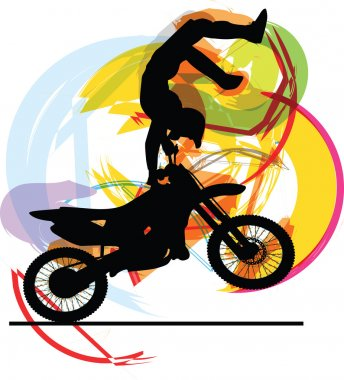 Abstract sketch of biker. Vector Illustration