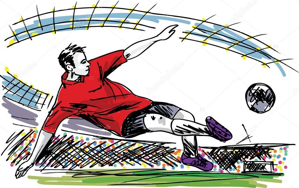 balón patear del jugador de fútbol. ilustración vectorial — Vector ...