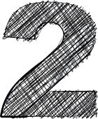 Photo Hand draw font. NUMBER 2
