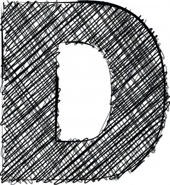 Hand draw font. LETTER D
