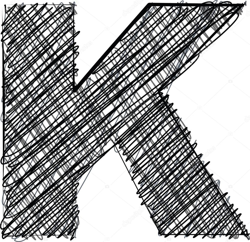 Hand zeichnen Schrift. Buchstabe k — Stockvektor © aroas #24947807