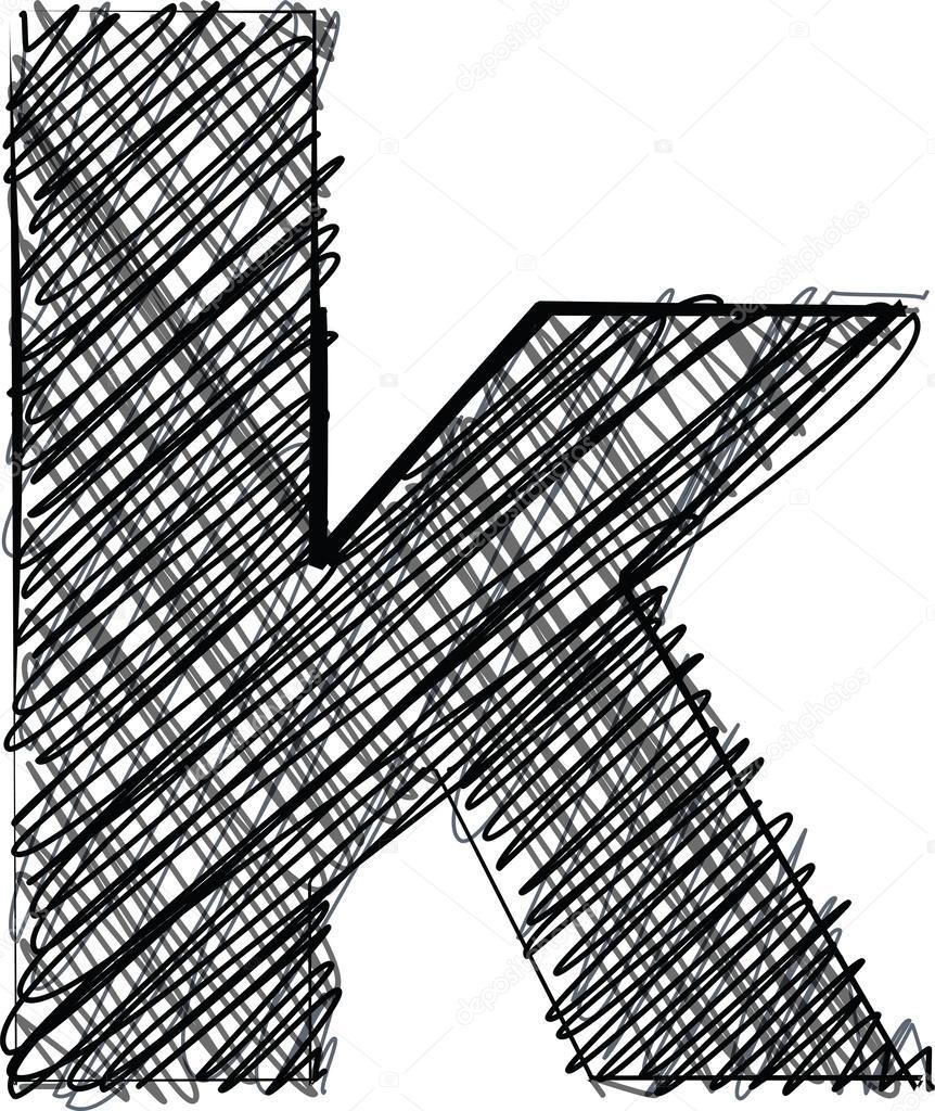 Hand zeichnen Schrift. Buchstabe k — Stockvektor © aroas #24971805